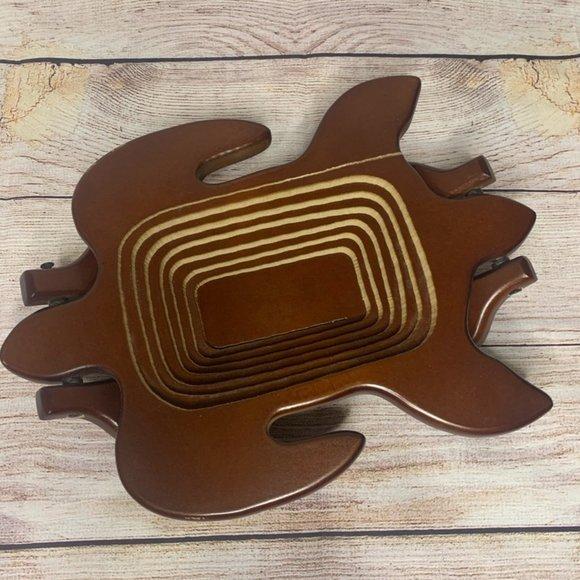Vintage Hand-carved Collapsable Turtle Basket